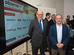 Santiago Vallejo, vicepresidente de la AEPT y Carlos Lope, secetario de su Junta Directiva participaron en el acto de presentación del informe