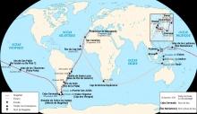 Mapa del itinerario de Magallanes / Elcano